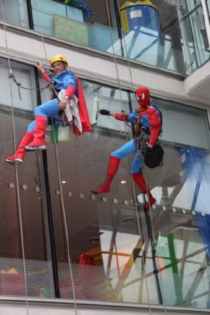 Spiderman And Superman Abseil Into The Evelina Hospital 9