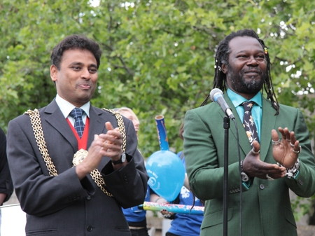 Mayor of Lambeth Dr Neeraj Patil and Levi Roots