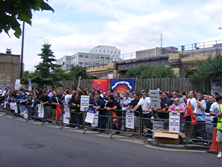 Firefighters in Union Street vuvuzela protest outside brigade HQ