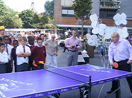 Boris Johnson plays table tennis in Bermondsey Square