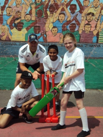 England cricketer Matt Prior celebrates National Cricket Day in Waterloo