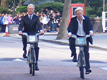 Boris Johnson on South Bank for Barclays Cycle Hire launch