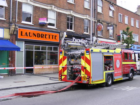 Fire at laundrette in The Cut
