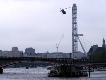Helicopter filming for Bollywood movie RA. One at Lambeth Bridge