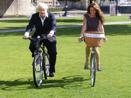 Boris Johnson and Kelly Brook at Potters Fields Park for Sky Ride launch