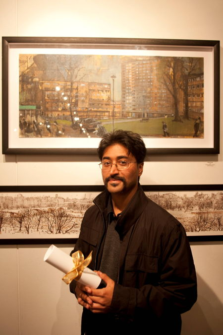 Akash Bhatt with his winning painting