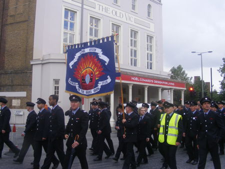Hundreds of firefighters march through Waterloo streets
