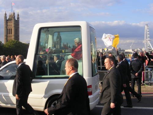 Popemobile on Lambeth Bridge
