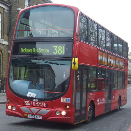 Bus route 381 is operated by Abellio