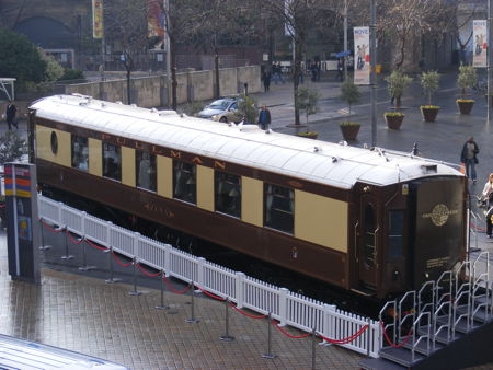 Orient-Express railway carriage on South Bank for Agatha Christie Weekend