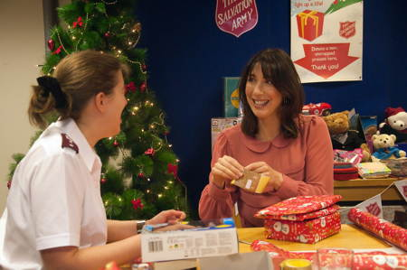 Samantha Cameron visits Elephant & Castle to wrap Christmas gifts