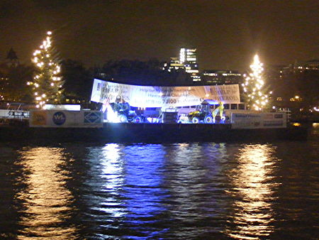 Christmas trees on Thames barge to promote charity auction
