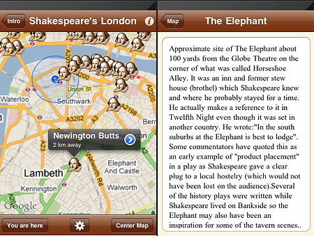 Shakespeare's London iPhone app