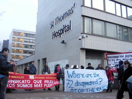 Protesters at St Thomas' highlight plight of hospital workers arrested last month