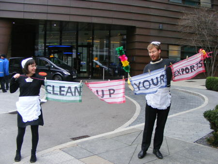 Campaigners dressed as maids confront delegates at Tooley Street trade summit