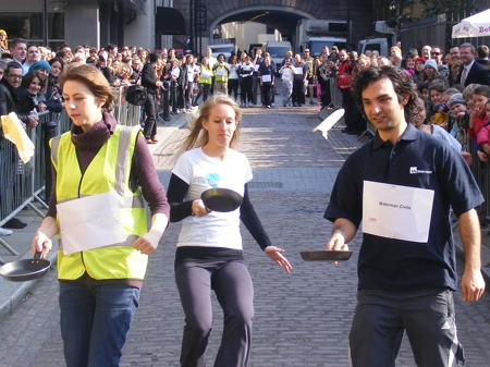 Osteopaths win Better Bankside pancake race