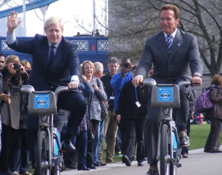 Boris and Arnie take a bike ride through Potters Fields Park