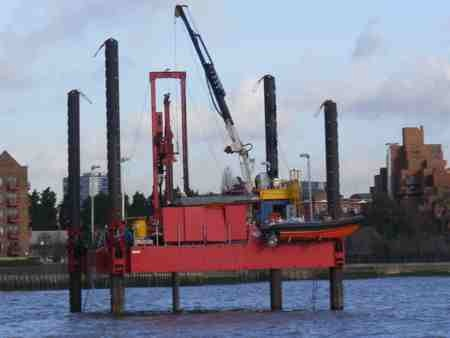 A jack-up barge is used for Thames Tunnel survey