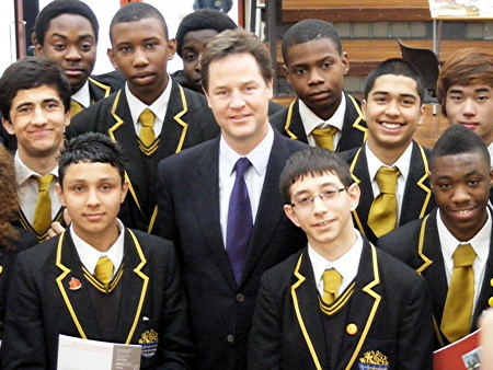 Nick Clegg with Globe Academy pupils
