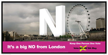 No to AV campaign launches London Eye poster on South Bank
