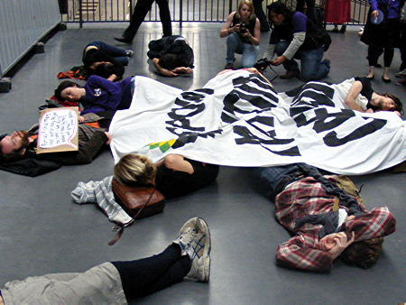 'Art not Oil' anti-BP flashmob protest in Tate Modern Turbine Hall