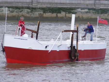 Walking Boat emerges from the Thames onto Bankside beach