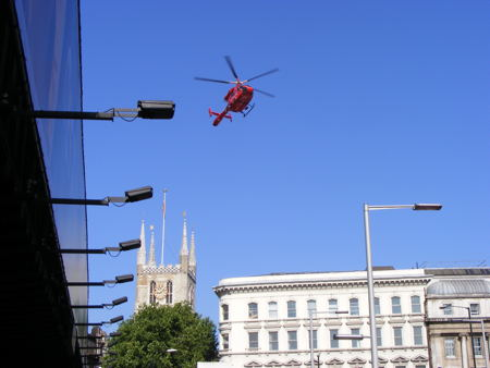 Air ambulance at London Bridge after motorcycle and pedestrian collide
