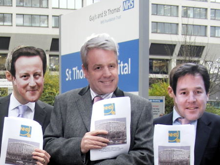 Cameron, Clegg and Lansley at Guy's Hospital for NHS policy relaunch