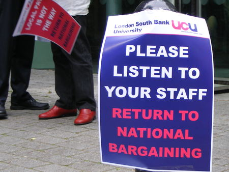 LSBU lecturers stage protest outside governors' meeting