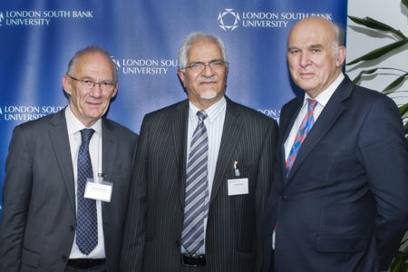 Vince Cable at LSBU to celebrate £1 million gift from alumnus Nathu Puri