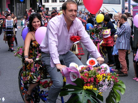 Festival of Britain's floral bicycle parade recreated on the South Bank