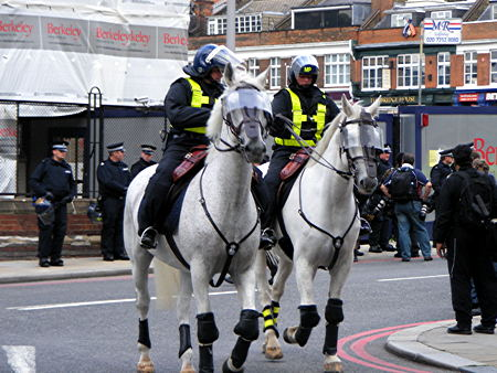 Police horses outside the old St Olave's School