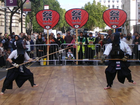 Martial arts demonstrations in Belvedere Road