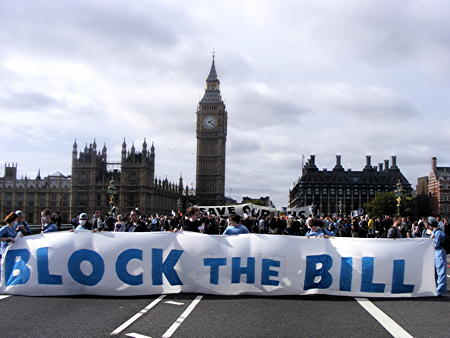Westminster Bridge blocked by protesters against NHS reforms