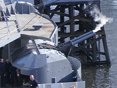 HMS Belfast celebrates four decades in Pool of London with 40-gun salute