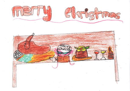 Snowsfields pupil designs winning Borough Market Christmas card