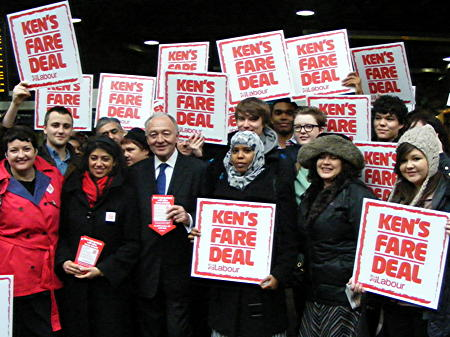 Ken Livingstone at London Bridge for first photo opportunity of 2012 mayoral race