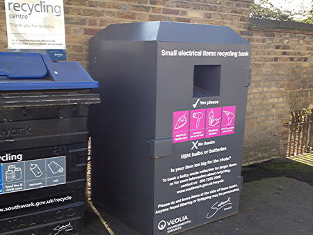 Recycling bin for electrical appliances in Southwark Bridge Road