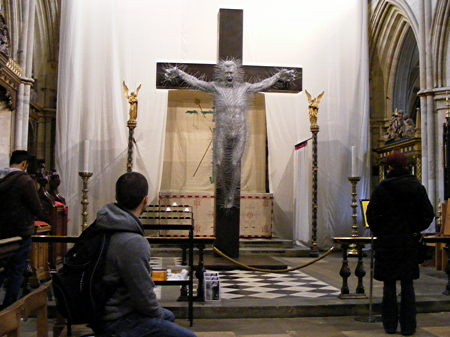 Dramatic 'coat hanger crucifixion' sculpture installed at Southwark Cathedral