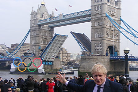 Boris unveils £930,000 Olympic rings on a barge