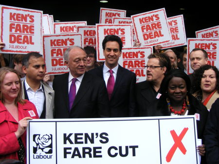 Ed Miliband and Eddie Izzard join Ken Livingstone at London Bridge
