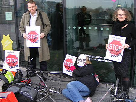 Southwark cycle safety campaigners stage 'die-in' at City Hall