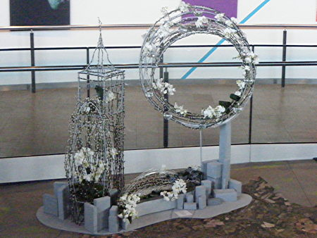 London Eye and Tower Bridge in floral art show at City Hall
