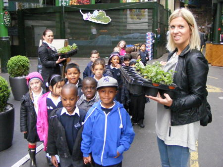 SE1 children plant herbs at Borough Market's 'nomadic allotments'