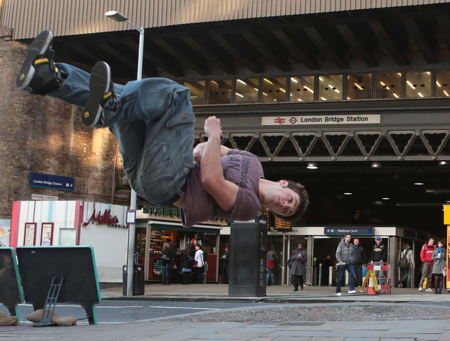 Free runners show Monument's a hop, skip and a jump from London Bridge
