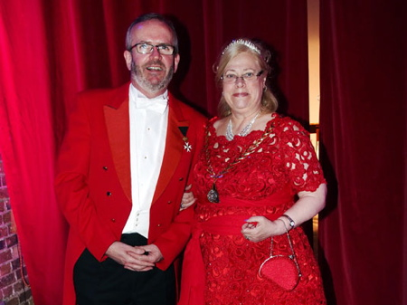 Cllr Lorraine Lauder with civic toastmaster Michae