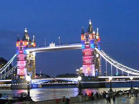 Tower Bridge's new colour-changing lights switched on