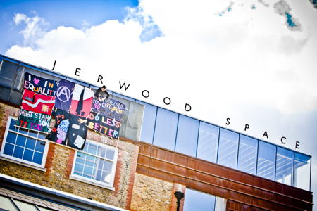 Banners unfurled at Jerwood Space