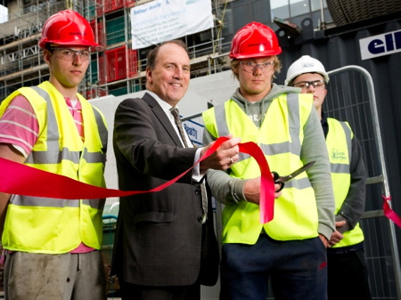 Simon Hughes cuts ribbon as Guy's Tower cladding work begins in earnest