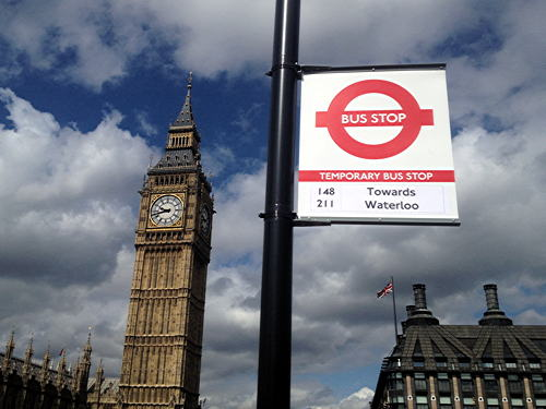 Olympic 'games lane' road markings painted at Westminster Bridge